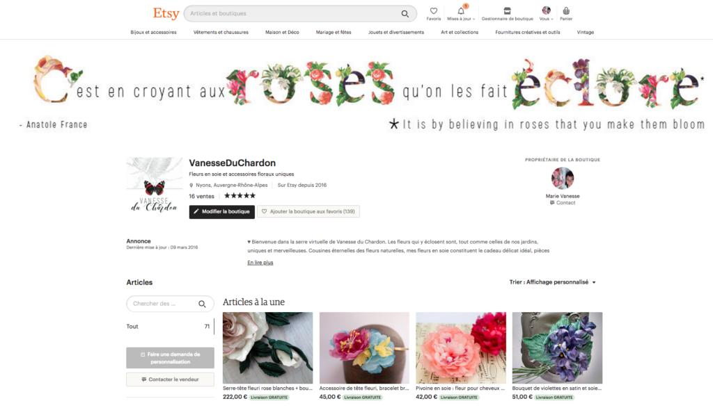 Boutique en ligne fleurs en soie Vanesse du Chardon